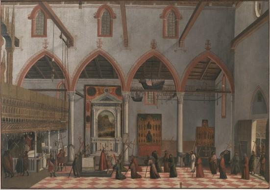 Vittore Carpaccio, Apparizione dei crocifissi del monte Ararat nella chiesa S. Antonio di Castello, 1512, olio su tela, 123X177,5 cm, Gallerie dell'Accademia, Venezia