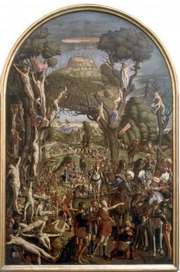 Vittore Carpaccio, Crocifissione e apoteosi dei diecimila martiri del monte Ararat, 1512- 1513, olio su tela, 311x204 cm Gallerie dell'Accademia, Venezia