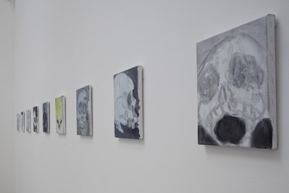 Marlene Dumas, Skull, 2013-2015. 36 opere a olio su tela. 30 × 24 cm. 56. Esposizione Internazionale d'Arte - la Biennale di Venezia, All the World's Futures. Photo by Alessandra Chemollo. Courtesy: la Biennale di Venezia