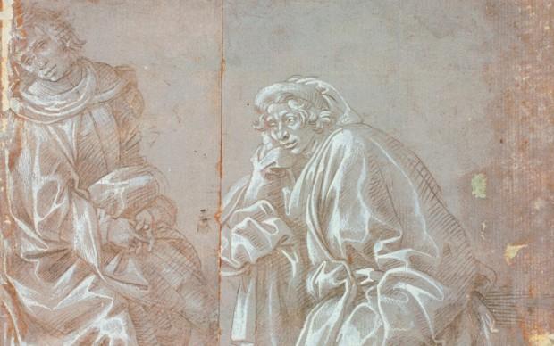 Filippino Lippi, Studi per la figura di un Santo inginocchiato con un pastorale e per una figura in piedi con turbante. Punta metallica, con lumeggiature di biacca su carta preparata in colore grigio, mm 239 x 248. Firenze, Gabinetto Disegni e Stampe degli Uffizi