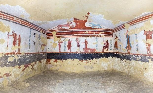 Tomba dei Giocolieri- Foto sferica, Tarquinia, 2015, ©Soprintendenza Archeologica del Lazio e dell'Etruria Meridionale, elaborazione di Andrea Ga