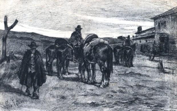Giovanni Fattori, Butteri in Maremma, carboncino, 51x33