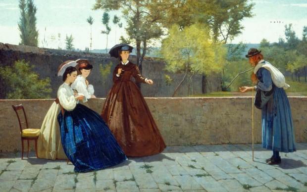 Silvestro Lega, L'elemosina, 1864, olio su tela, cm 71,8x124, collezione privata