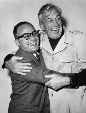 Dino de Laurentiis e John Huston celebrano la realizzazione del film La Bibbia, nel 1964 (Photo by Keystone/Getty Images)