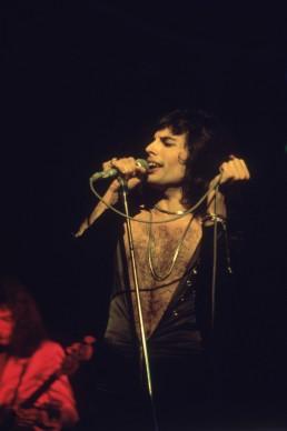 Freddie Mercury live a metà degli anni Settanta (Photo by Keystone/Getty Images)