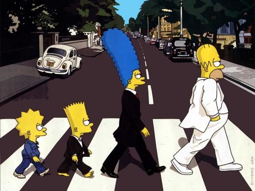 Una scena tratta dalla serie tv animata I Simpson, che parodizza la cover di Abbey Road