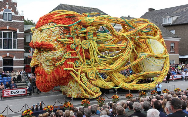 Carro Van Gogh parata floreale dalie Olanda