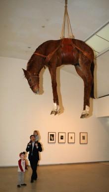 Maurizio Cattelan, Novecento, in mostra alla 16esima Biennae di Sydney nel giugno del 2008 (Photo by TORSTEN BLACKWOOD/AFP/Getty Images)