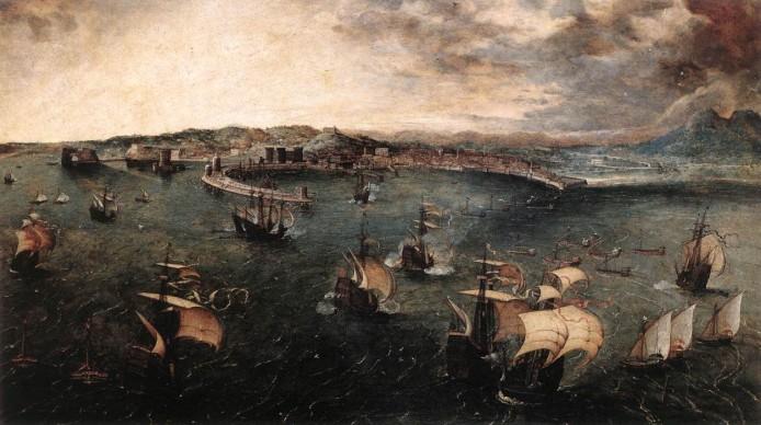 Pieter Brueghel il Vecchio, Veduta del porto di Napoli, 1556 circa