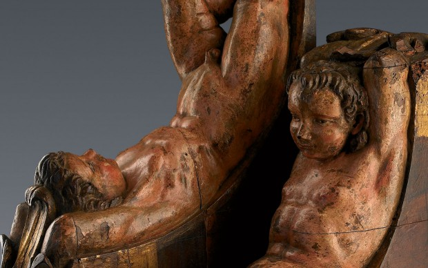 Sculture lignee raffiguranti Atlante attribuite dall'Art Research Foundation a Michelangelo Buonarroti