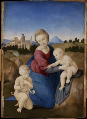 Raffaello Sanzio, Madonna col Bambino e san Giovannino (Madonna Esterhazy), 1508 ca. Tempera e olio su tavola, 28,5x21,5 cm © Museum of Fine Arts, Budapest 2015