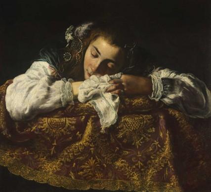 Anonimo pittore attivo a Roma, Ragazza dormiente, 1610-1620 ca. Olio su tela, 67,5x74 cm © Museum of Fine Arts, Budapest 2015