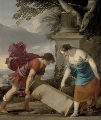 Laurent De La Hyre,  Teseo, aiutato dalla madre Etra, trova le armi nascoste del padre, 1635-1636 ca. Olio su tela, 141x118,5 cm © Museum of Fine Arts, Budapest 2015