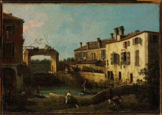 Giovanni Antonio Canal detto Canaletto,  Molo a Dolo, 1756 ca. Olio su tela, cm 30,5x44,5 © Museum of Fine Arts, Budapest 2015