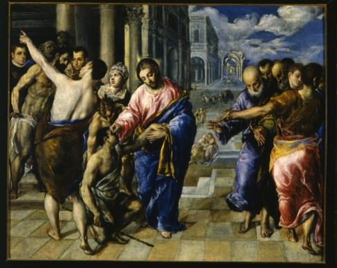 Domenikos Theotokopoulos detto El Greco, Guarigione del Cieco (1573 ca), Galleria Nazionale, Parma