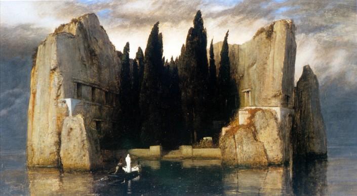Arnold Böcklin, L'isola dei morti, 1880-86, olio su telaRealizzato in numerose versioni (tra cui abbiamo scelto la terza, del 1883), il dipinto dell'artista svizzero Arnold Böcklin è passato alla storia per il grande successo riscosso all'inizio del Novecento, trovando in Freud, Dalì e D'Annunzio i suoi più grandi estimatori. Un'isola rocciosa domina la scena, catalizzando lo sguardo e lasciandolo poi vagare sugli altri particolari che, ad un'osservazione più attenta, emergono dallo sfondo: una barca a remi in avvicinamento all'isola, un personaggio a poppa che la conduce, e una figura bianca e misteriosa a prua, vicina ad una bara altrettanto candida. Dalle pareti rocciose sembrano emergere dei sepolcri, facendo pensare ad un cimitero sull'acqua. L'artista non rivelò mai il significato dell'opera, ma l'effetto onirico e desolante suggerito dal dipinto resta intatto attraverso i secoli.