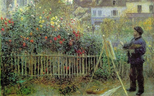 Auguste-Renoir,-Monet-Painting-in-His-Garden-at-Argenteuil,-1873