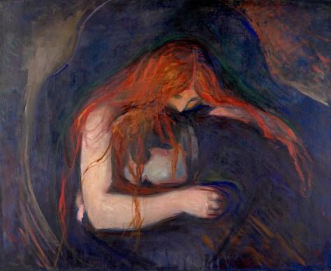 Edvard Munch, Vampiro, 1895, olio su telaPittore dell'inquietudine per eccellenza, Edvard Munch ritrae la donna come una figura enigmatica, capace di ammaliare con un fascino al limite del demoniaco. Non a caso, il protagonista del dipinto è una figura femminile dall'innegabile attitudine vampiresca, ritratta nel gesto fatale di mordere il collo della sua vittima. L'uomo, stretto in un abbraccio mortale, sembra lasciarsi avviluppare dal potere della donna-vampiro, sapientemente evocato da Much attraverso la tentacolare cascata di capelli rossi che ricadono sul volto inerme del co-protagonista dell'opera.