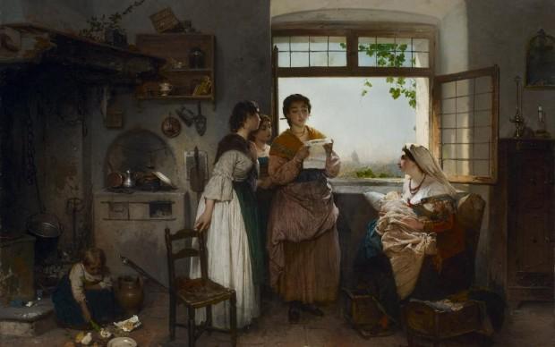 Gerolamo Induno, Donne romane, scena contemporanea, 1864, olio su tela, 76 x 102,2 cm, collezione privata