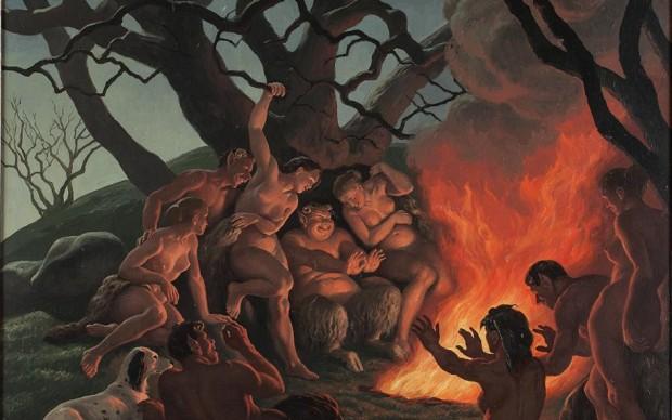 """Amos Nattini: La carne al fuoco, ovvero """"Il sabbato di Driadi e Satiri"""", 1956 olio su tavola, cm. 55 x 65"""