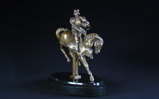 Leonardo da Vinci Bronzo scultura Cavallo e Cavaliere