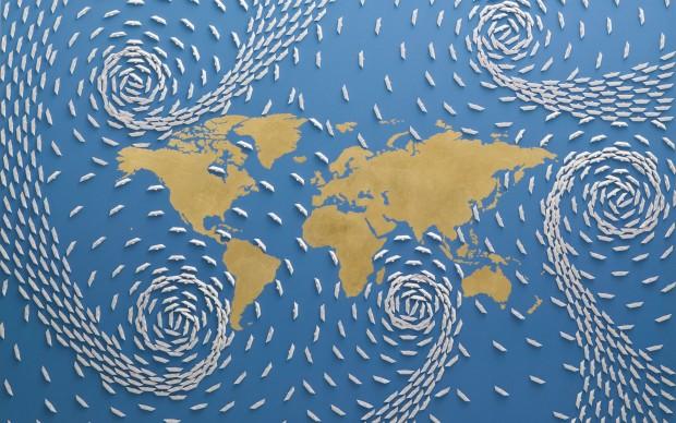 riccardo gusmaroli, Mondo oro – cm 100 x 150 – Anno 2014 - Barche di carta su tela e foglia oro