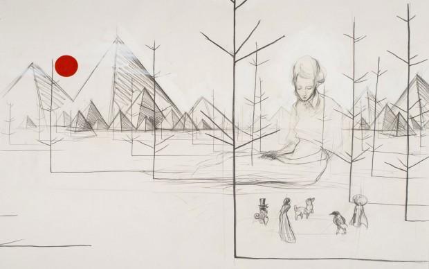 Charles Avery, Untitled (Study for a Goddess), 2004, matita e acrilico su carta. Courtesy dell'Artista e di Studio SALES di Norberto Ruggeri, Roma. Foto di Giorgio Benni