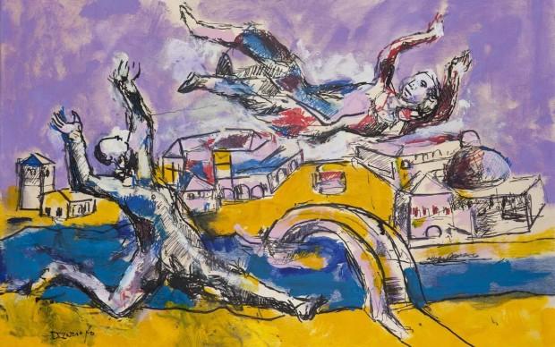 Dario Fo, Bella rincorsa nell'aria, 2015. Tecnica mista su tavola, 90x60 cm. Archivio Franca Rame e Dario Fo