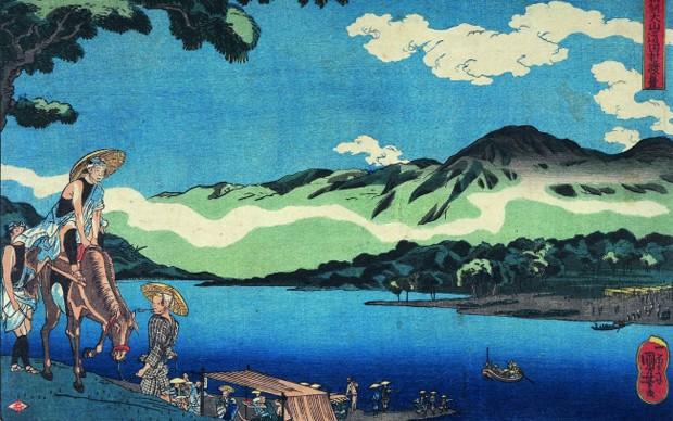 Utagawa-Kuniyoshi-L'imbarcazione-a-Tamura-sulla-strada-d'Oyama-nella-provincia-di-Sagami-verso-1842-Courtesy-of-Gallery-Benyia