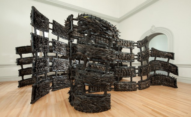 Chakaia Booker, ANONYMOUS DONOR, 2015. Renwick Gallery of the Smithsonian American Art Museum. Photo by Ron Blunt