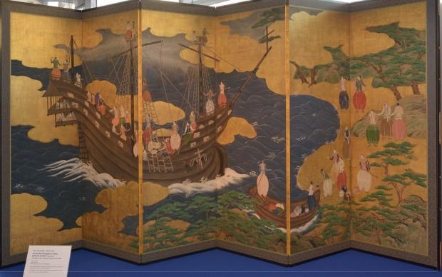 paravento decorativo pieghevole raffigurante l'arrivo degli europei in Giappone, 1600