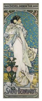 Alfons Mucha, Variante della Dame aux Camélias (Sarah Bernhardt / Farewell American Tour), 1905-1906.  Litografia a colori, cm 208 × 79,5, Richard Fuxa Foundation. Foto: © Richard Fuxa Foundation