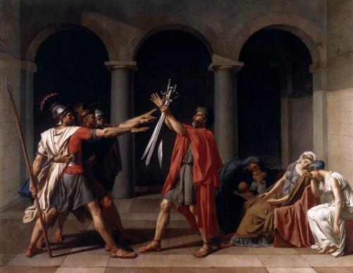 Jacques-Louis David, Il giuramento degli Orazi, 1785, Parigi, Louvre