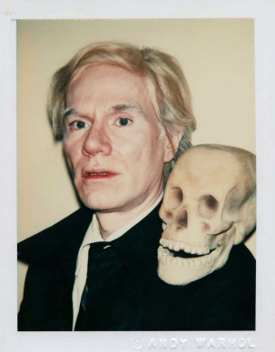 Andy Warhol, Self-Portrait with Skull 1977, Polaroid™ Polacolor Type 108, 10.8 x 8.6 cm, The Andy Warhol Museum, Pittsburgh; Founding Collection, Contribution The Andy Warhol Foundation for the Visual Arts, Inc. 1998.1.2866 © 2015 The Andy Warhol Foundation for the Visual Arts, Inc./ARS, New York. Licensed by Viscopy, Sydney.