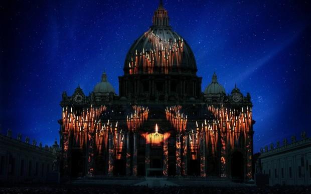 Fiat-Lux-illuminare-la-nostra-casa-comune-Basilica-di-San-Pietro Roma Giubileo 2015