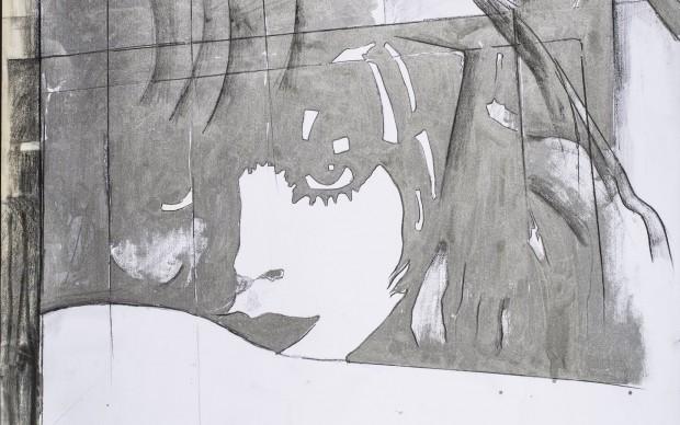 Fioroni Giosetta, Addio a Berlino, 1971, vernice alluminio e matita su carta, cm 100X70