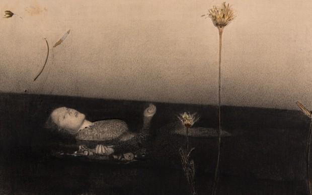 GIUSEPPE COLOMBO, Ofelia (da Millais) - matita carboncino e collage su carta - cm 19,5x29 - 2015, lgt