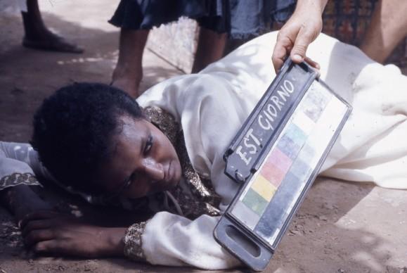 """Set del film """"Il fiore delle Mille e una notte"""", 1974 © Roberto Villa/Cineteca di Bologna."""