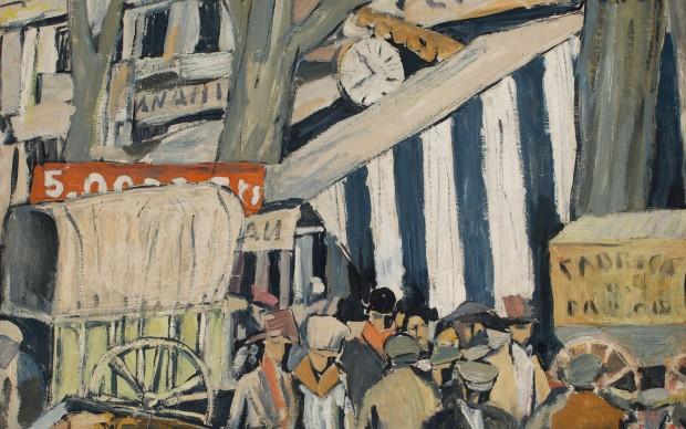 Joaquín Torres-García (Uruguayan. 1874–1949). Entoldado (La Feria) (Canopy [The fair]). 1917. Oil on canvas, 20 1/16 x 28 9/16″ (51 x 72.5 cm). Private collection. © Sucesión Joaquín Torres-García, Montevideo 2015