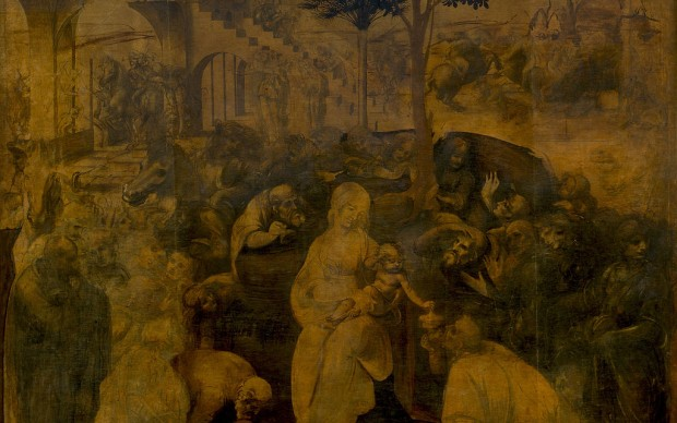 Leonardo da Vinci, Adorazione dei Magi, 1481-82, olio su tavola