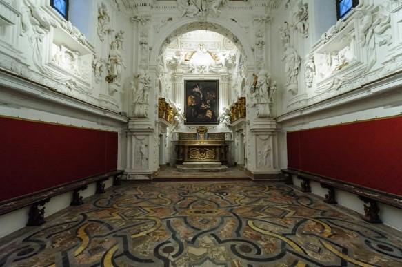 L'Oratorio della Compagnia di San Lorenzo a Palermo dopo il 12 dicembre 2015, quando alla comunità è stata consegnata la riproduzione fedele della Natività di Caravaggio rubata nel 1969