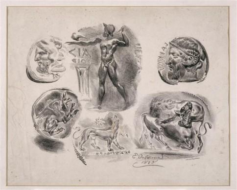 Eugène Delacroix, Feuille de six médailles antiques; 2ème état. Credit: Photo (C) RMN-Grand Palais / Hervé Lewandowski