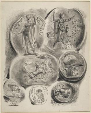Eugène Delacroix, Feuille de 7 médailles antiques; 3ème état. Photo (C) RMN-Grand Palais (musée du Louvre) / Hervé Lewandowski