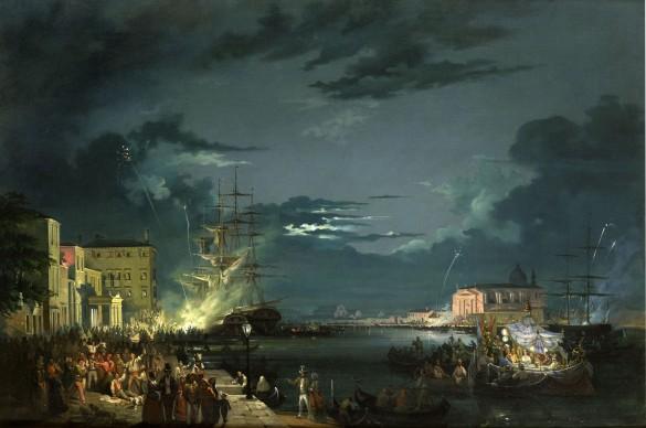 Carlo Grubacs, Notturno con la festa del Redentore, olio su tela, 67 x 100 cm. Collezione privata