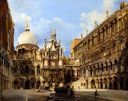Federico Moja, Veduta dell'interno di Palazzo Ducale, olio su tela, 42 x 55 cm. Collezione privata