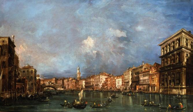 Francesco Guardi, Veduta del Canal Grande verso il Ponte di Rialto, olio su tela, 73 x 121 cm. Londra, collezione privata