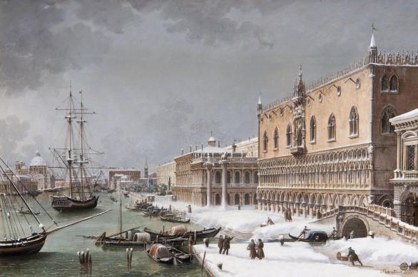 Giuseppe Borsato, Venezia sotto la neve, olio su tela, 41 x 60 cm. Trieste, Musei Civici