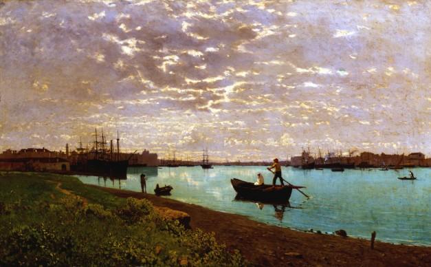 Guglielmo Ciardi, Il Canale della Giudecca all'alba, olio su tela, 62 x 102 cm. Milano, Fondazione Cariplo