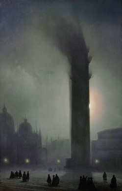 Ippolito Caffi, Notturno con nebbia in Piazza San Marco, olio su tela, 63 x 41 cm. Collezione privata