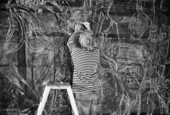 Luca Pignatelli al lavoro su Cosmografia, 2015. Photo: Giuseppe Anello